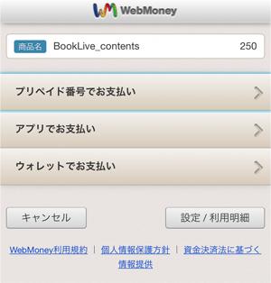 WebMoneyの決済サイトへ