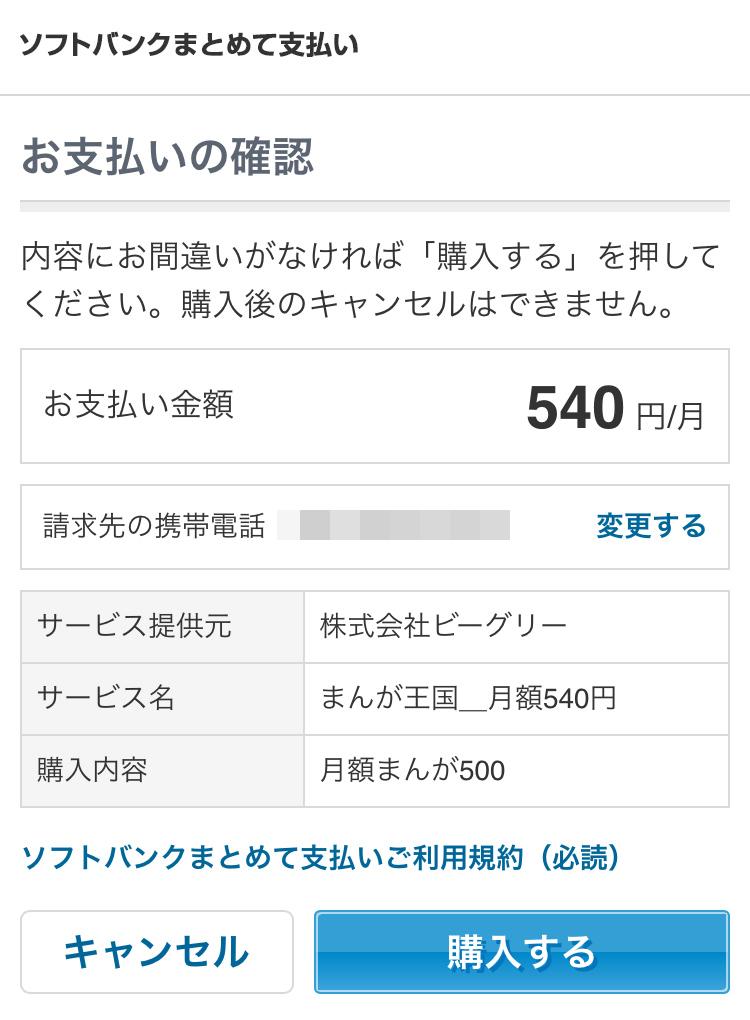SoftBankの支払い確認画面